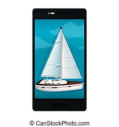 smartphone technology with wood sailboat picture