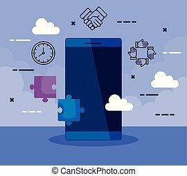 smartphone, teknologi, kontor, affärsverksamhet ikon