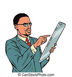 smartphone, tela grande, isole, fundo, africano, homem negócios, branca