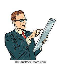 smartphone, tela grande, isole, fundo, homem negócios, branca