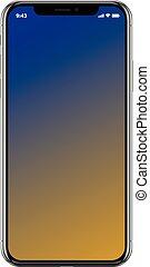 smartphone, telefon, ruchomy, gatunek, realistyczny, czarnoskóry, nowy
