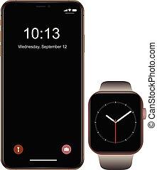 smartphone, telefon, ruchomy, gatunek, smartwatch, realistyczny, czarnoskóry, nowy