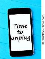smartphone, tempo, palavras, unplug