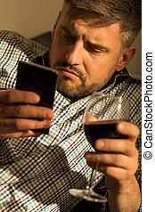 smartphone, tenencia, hombre