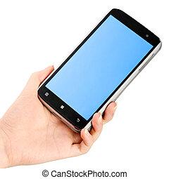 smartphone, tenendo mano