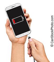 smartphone, tenue, chargeur, isolé, main, relier, fond, ...