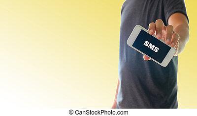 smartphone, text, sms, hålla lämna, användande, röja, man