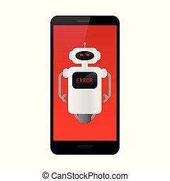 smartphone, textanzeige, roboter, rotes , fehler