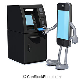 smartphone that is using an ATM, 3d illustration