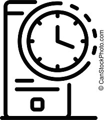 Smartphone time clock icon, outline style