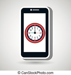 smartphone time clock icon vector illustration design eps 10