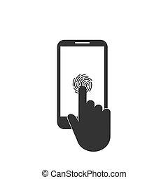 Smartphone touch icon. Fingerprint icon. Vector illustration, flat design.