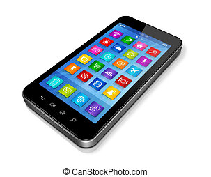 Smartphone Touchscreen HD - apps icons interface - 3D...