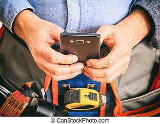 smartphone, trabajador, tenencia