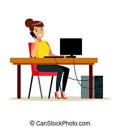 smartphone, trabalhando, dela, executiva, personagem, ilustração, falando, enquanto, vetorial, computador, sorrindo, coloridos