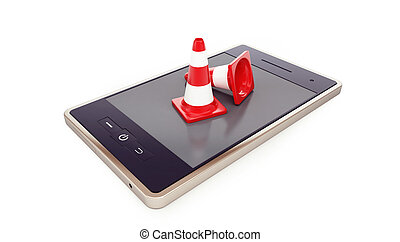 smartphone, traffic cones, road conet on a white background 3D illustration, 3D rendering