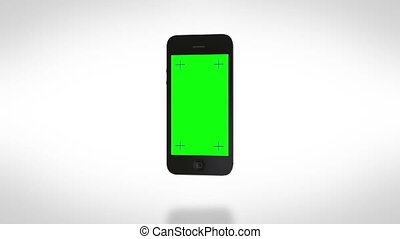 Smartphone turns on. White bg - Easily customizable green...