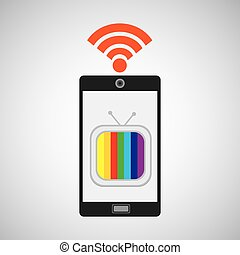smartphone tv internet wifi icon