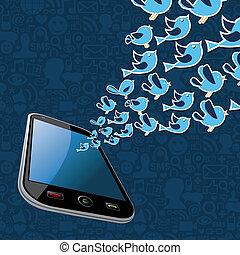 smartphone, twitter, toepassing, gespetter, vogels, uit