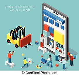Smartphone UI design development vector concept in flat 3d isometric style