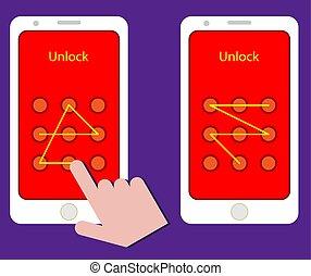 Smartphone Unlock Pattern Gesture Vector Illustration