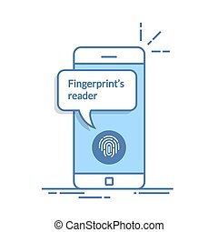 Smartphone unlocked with fingerprint button, mobile phone security, cellphone user authorization, login, protection technology. Thin line vector illustration isolated on white background.