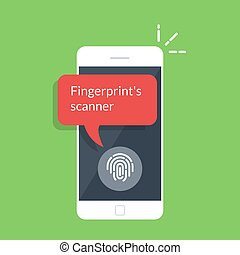 Smartphone unlocked with fingerprint button, mobile phone security, cellphone user authorization, login, protection technology. Flat vector illustration isolated on green background.
