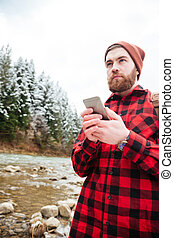 smartphone, uomo, bello, fuori, usando