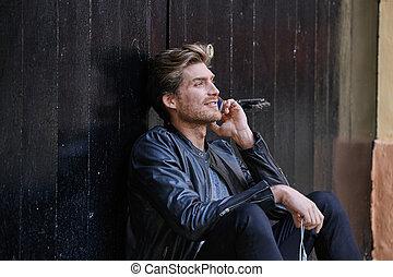 smartphone, utca, fiatal, ember, ülés