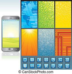 smartphone, vector, diseño, kit., colección
