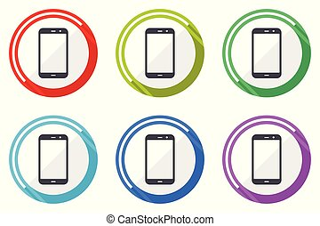 Smartphone vector icon set. Colorful flat design web icons on white background in eps 10.