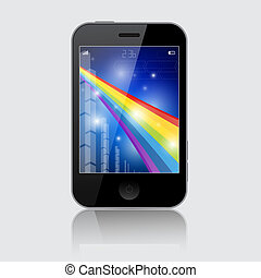 Smartphone Vector Illustration with Abstract Rainbow Theme on Grey Background