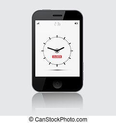 Smartphone Vector Illustration with Clock on Grey Background