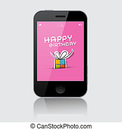 Smartphone Vector Illustration with Happy Birthday Theme on Grey Background