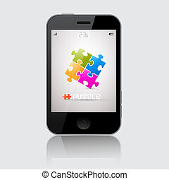 Smartphone Vector Illustration with Puzzle Theme on Grey Background
