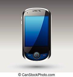 smartphone, vektor, editable, pořadač