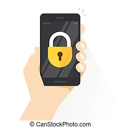 smartphone, verschlossen, vektor, hand holding, handy, mit, schloß, begriff, von, sicherheit, schutz