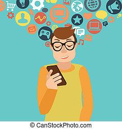 smartphone, verslaving, concept