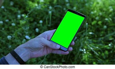smartphone, vert, screen., tenue, homme