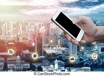 smartphone, vertical, móvil, hombre, posición, mano, ...