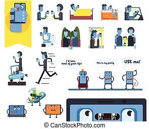 smartphone, vetorial, jogo, addiction., ilustração