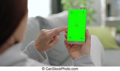 smartphone, vide, écran, femme, utilisation