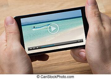 smartphone, video, hraní, voják, lavice