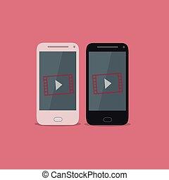 smartphone, video, ikona
