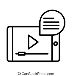smartphone video online education and development elearning line style icon