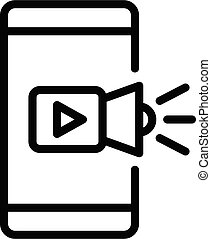 Smartphone video play icon, outline style