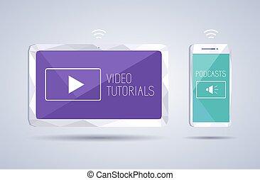 smartphone, video, tutorials, ikonen, podcast