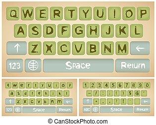 smartphone, virtual, teclado
