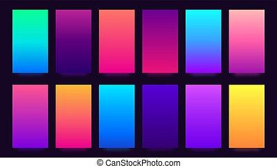 smartphone, vivido, colorito, pendenza, sfondi, collezione, sfocato, fondo., colori, vettore, fondale, gradients