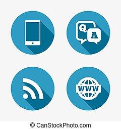 smartphone, vraag, praatje, antwoord, icon., bel